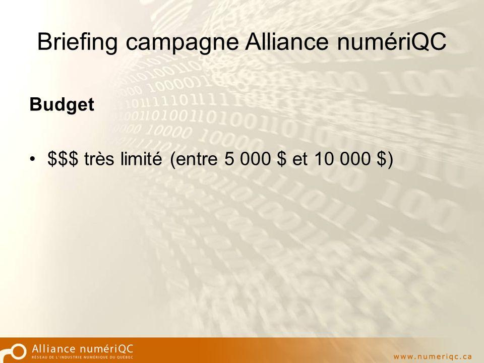 Briefing campagne Alliance numériQC Budget $$$ très limité (entre 5 000 $ et 10 000 $)
