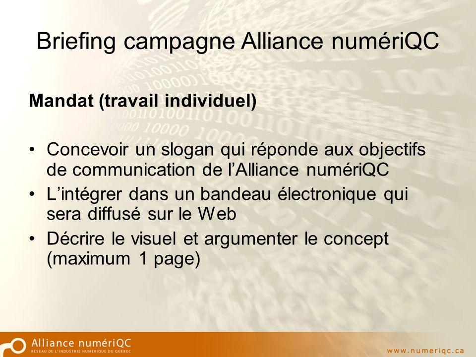 Briefing campagne Alliance numériQC Mandat (travail individuel) Concevoir un slogan qui réponde aux objectifs de communication de lAlliance numériQC Lintégrer dans un bandeau électronique qui sera diffusé sur le Web Décrire le visuel et argumenter le concept (maximum 1 page)
