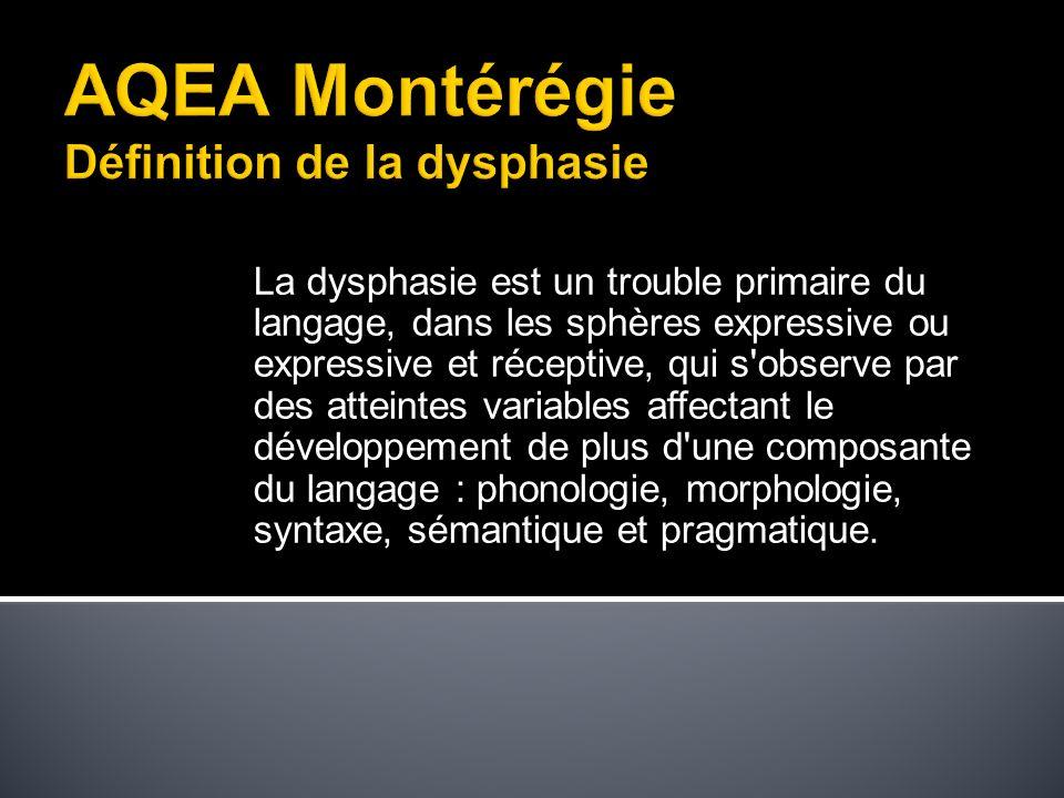 La dysphasie est un trouble primaire du langage, dans les sphères expressive ou expressive et réceptive, qui s observe par des atteintes variables affectant le développement de plus d une composante du langage : phonologie, morphologie, syntaxe, sémantique et pragmatique.