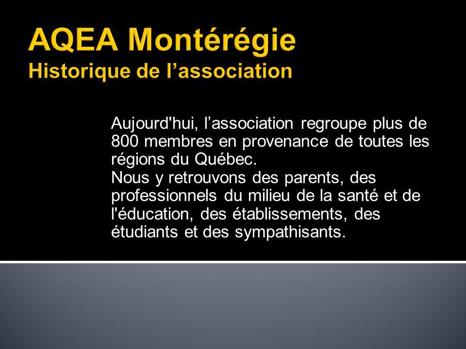Aujourd hui, lassociation regroupe plus de 800 membres en provenance de toutes les régions du Québec.