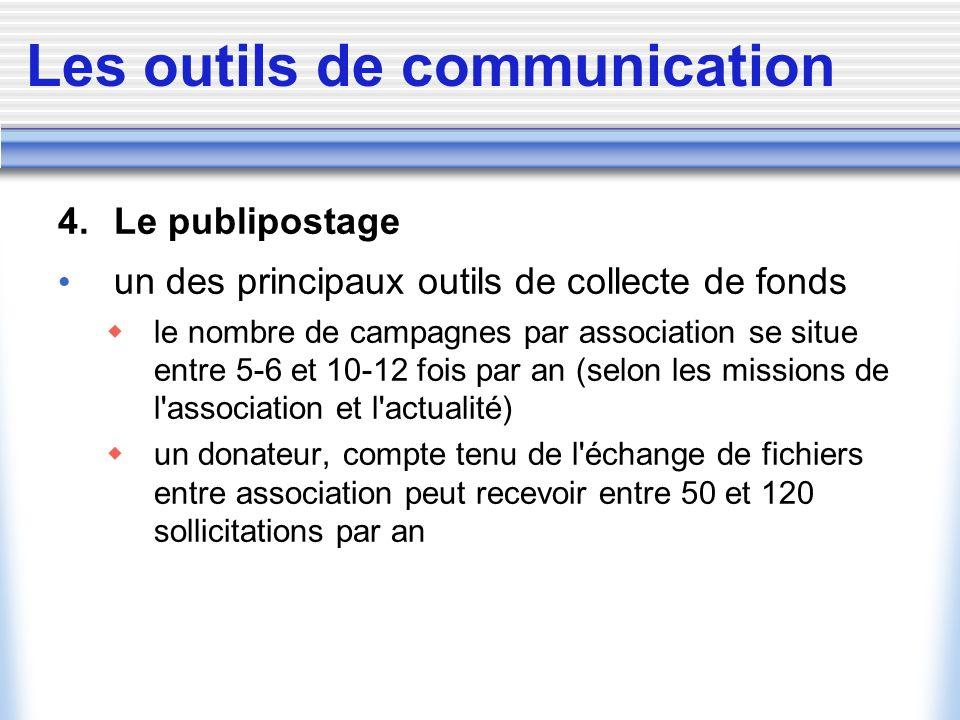 Les outils de communication 4. Le publipostage un des principaux outils de collecte de fonds le nombre de campagnes par association se situe entre 5-6