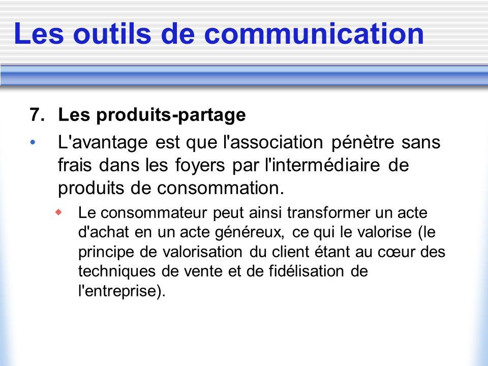 Les outils de communication 7. Les produits-partage L'avantage est que l'association pénètre sans frais dans les foyers par l'intermédiaire de produit