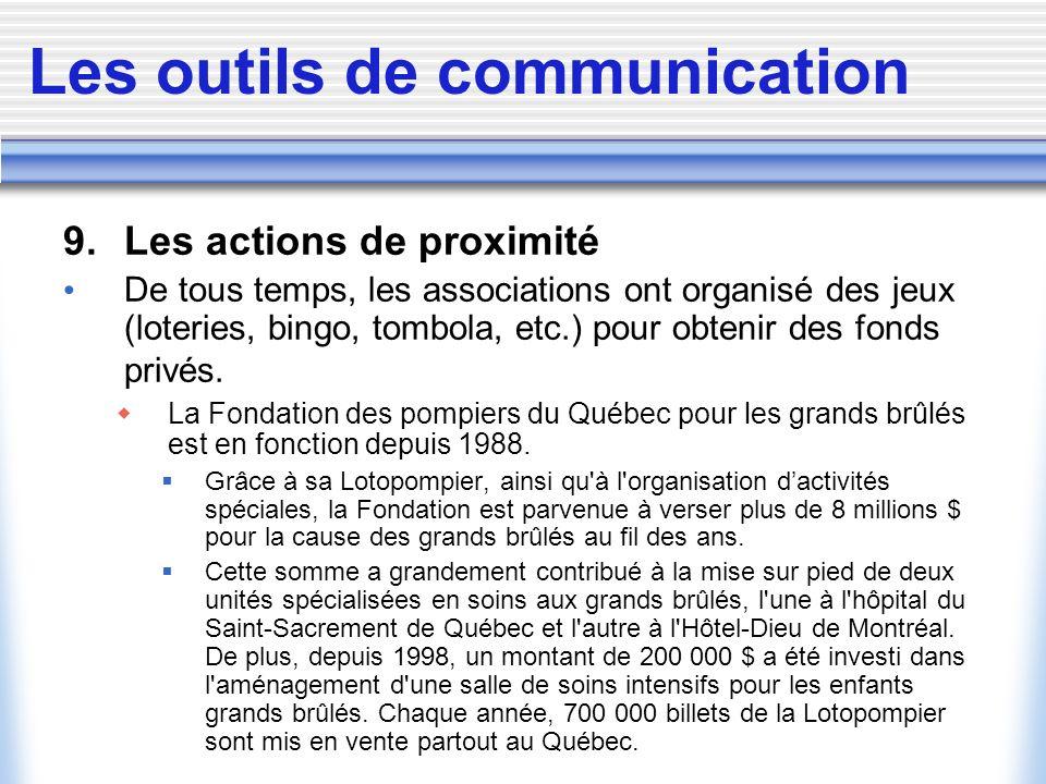 Les outils de communication 9. Les actions de proximité De tous temps, les associations ont organisé des jeux (loteries, bingo, tombola, etc.) pour ob