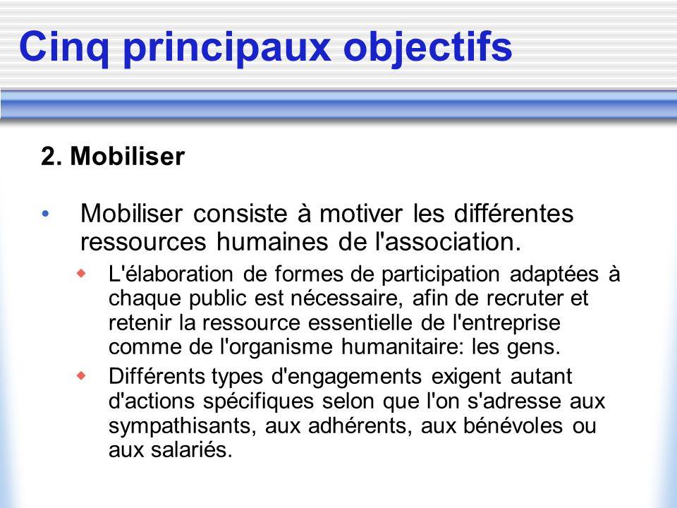 Cinq principaux objectifs 2. Mobiliser Mobiliser consiste à motiver les différentes ressources humaines de l'association. L'élaboration de formes de p