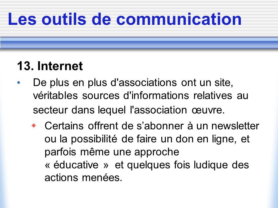Les outils de communication 13. Internet De plus en plus d'associations ont un site, véritables sources d'informations relatives au secteur dans leque
