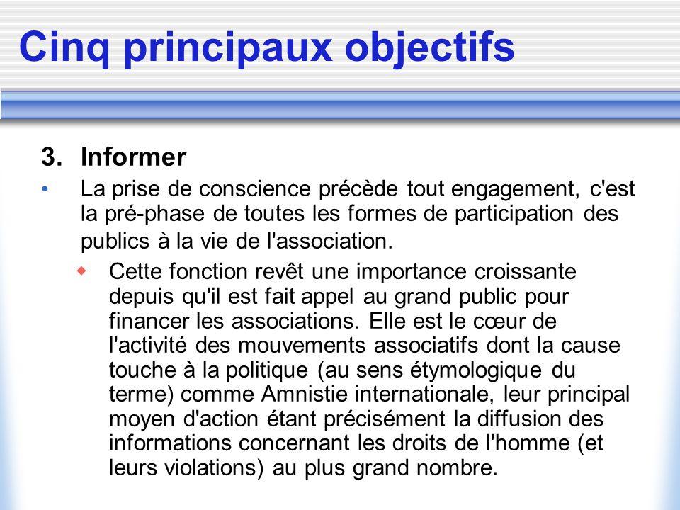 Cinq principaux objectifs 3. Informer La prise de conscience précède tout engagement, c'est la pré-phase de toutes les formes de participation des pub