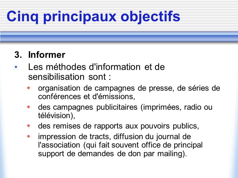 Cinq principaux objectifs 3. Informer Les méthodes d'information et de sensibilisation sont : organisation de campagnes de presse, de séries de confér