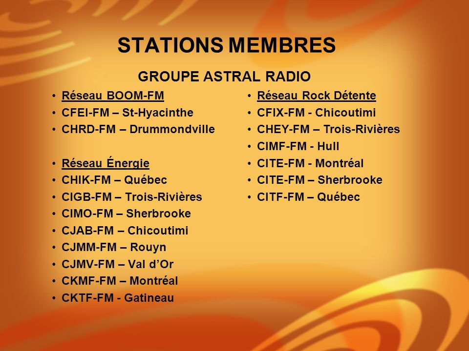 Réseau BOOM-FM CFEI-FM – St-Hyacinthe CHRD-FM – Drummondville Réseau Énergie CHIK-FM – Québec CIGB-FM – Trois-Rivières CIMO-FM – Sherbrooke CJAB-FM –