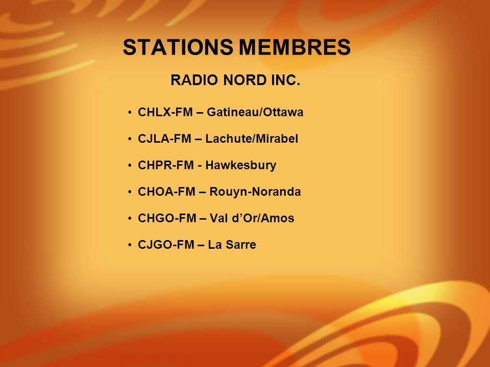 CHLX-FM – Gatineau/Ottawa CJLA-FM – Lachute/Mirabel CHPR-FM - Hawkesbury CHOA-FM – Rouyn-Noranda CHGO-FM – Val dOr/Amos CJGO-FM – La Sarre RADIO NORD