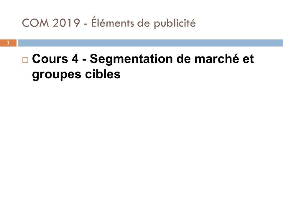 COM 2019 - Éléments de publicité 1 Cours 4 - Segmentation de marché et groupes cibles