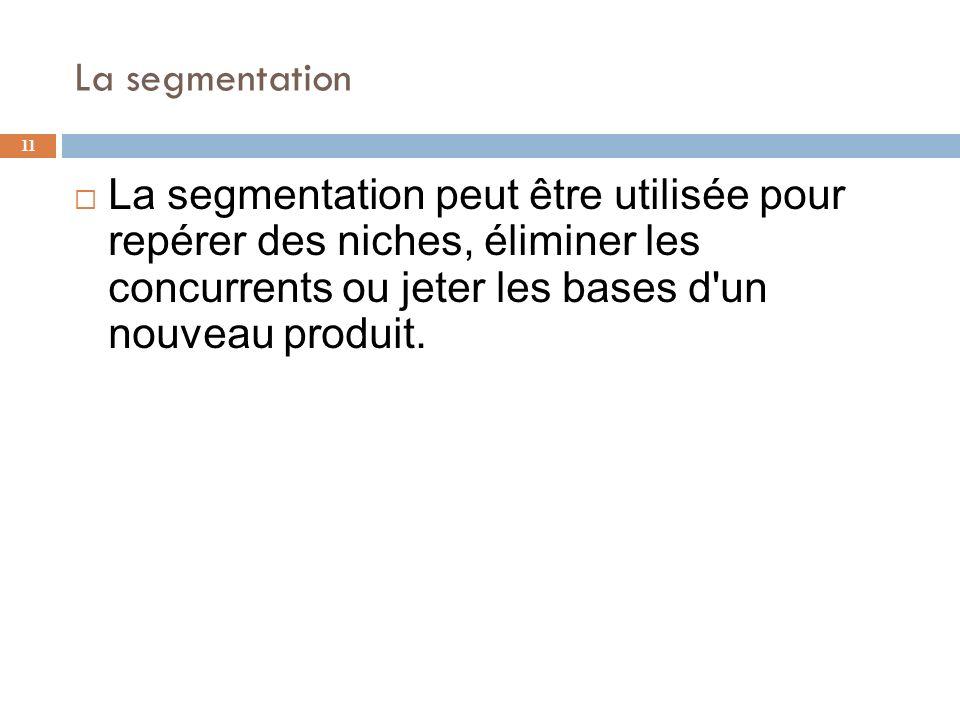 La segmentation 11 La segmentation peut être utilisée pour repérer des niches, éliminer les concurrents ou jeter les bases d'un nouveau produit.