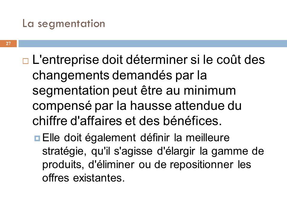 La segmentation 27 L'entreprise doit déterminer si le coût des changements demandés par la segmentation peut être au minimum compensé par la hausse at