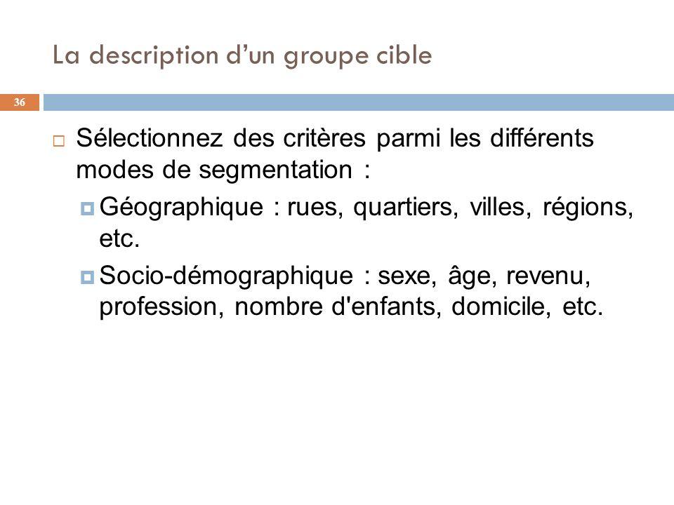 La description dun groupe cible 36 Sélectionnez des critères parmi les différents modes de segmentation : Géographique : rues, quartiers, villes, régi