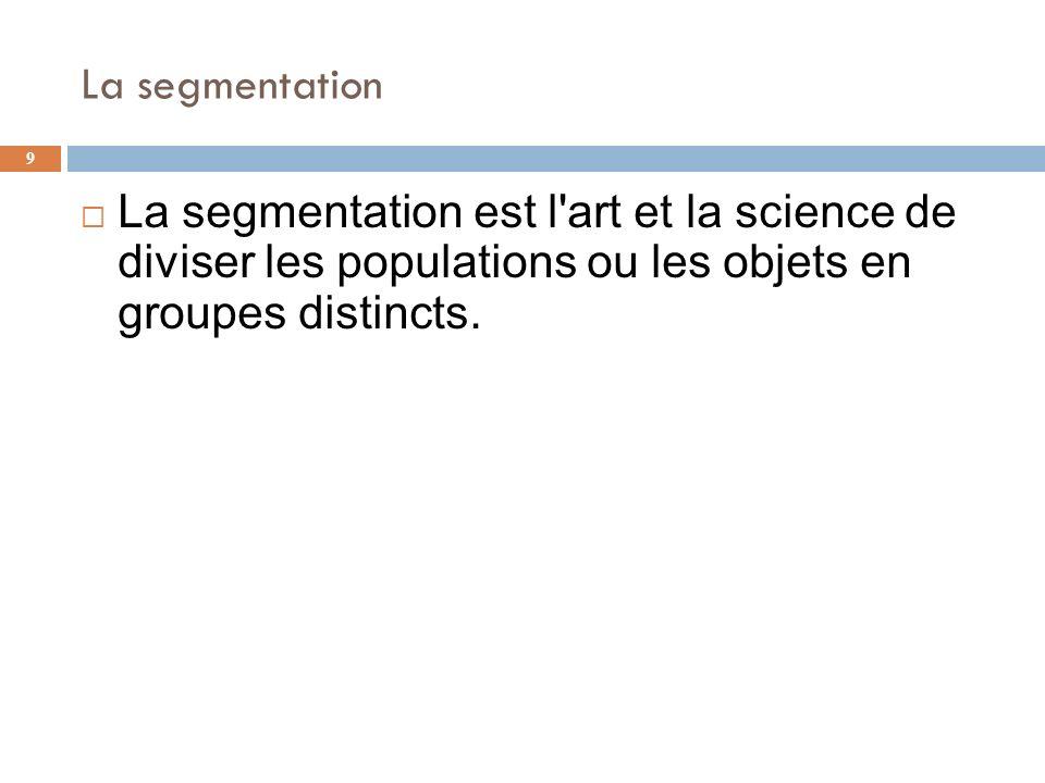 La segmentation 9 La segmentation est l'art et la science de diviser les populations ou les objets en groupes distincts.