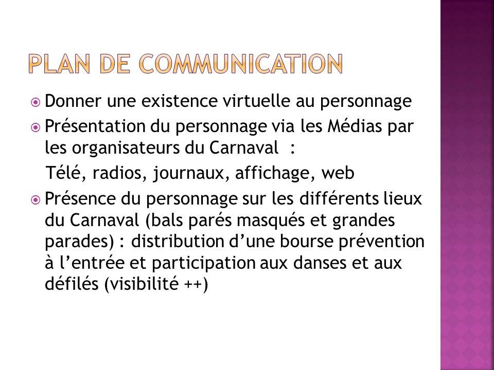 Donner une existence virtuelle au personnage Présentation du personnage via les Médias par les organisateurs du Carnaval : Télé, radios, journaux, aff