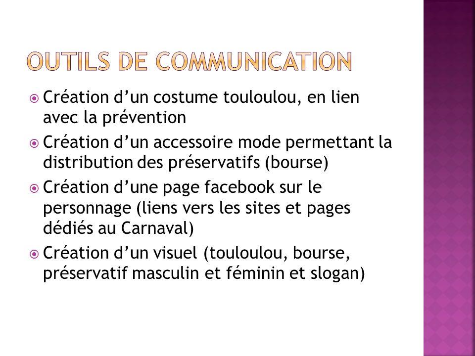 Création dun costume touloulou, en lien avec la prévention Création dun accessoire mode permettant la distribution des préservatifs (bourse) Création