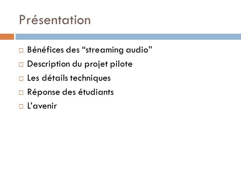 Présentation Bénéfices des streaming audio Description du projet pilote Les détails techniques Réponse des étudiants Lavenir