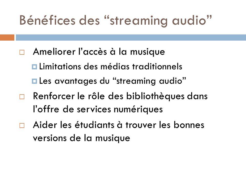 Bénéfices des streaming audio Ameliorer laccès à la musique Limitations des médias traditionnels Les avantages du streaming audio Renforcer le rôle des bibliothèques dans loffre de services numériques Aider les étudiants à trouver les bonnes versions de la musique