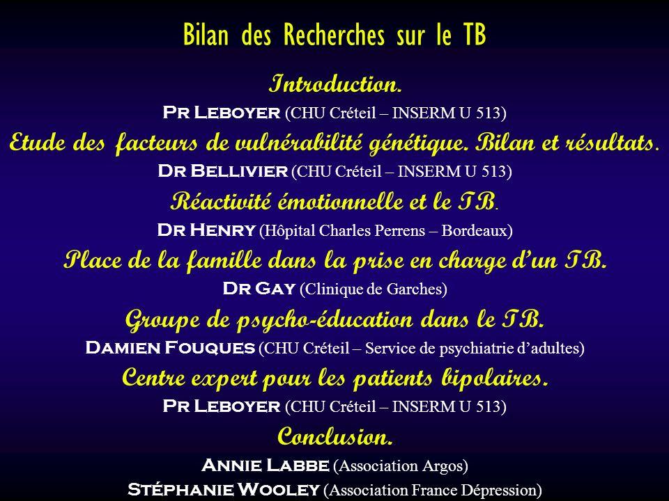 Bilan des Recherches sur le TB Introduction. Pr Leboyer (CHU Créteil – INSERM U 513) Etude des facteurs de vulnérabilité génétique. Bilan et résultats