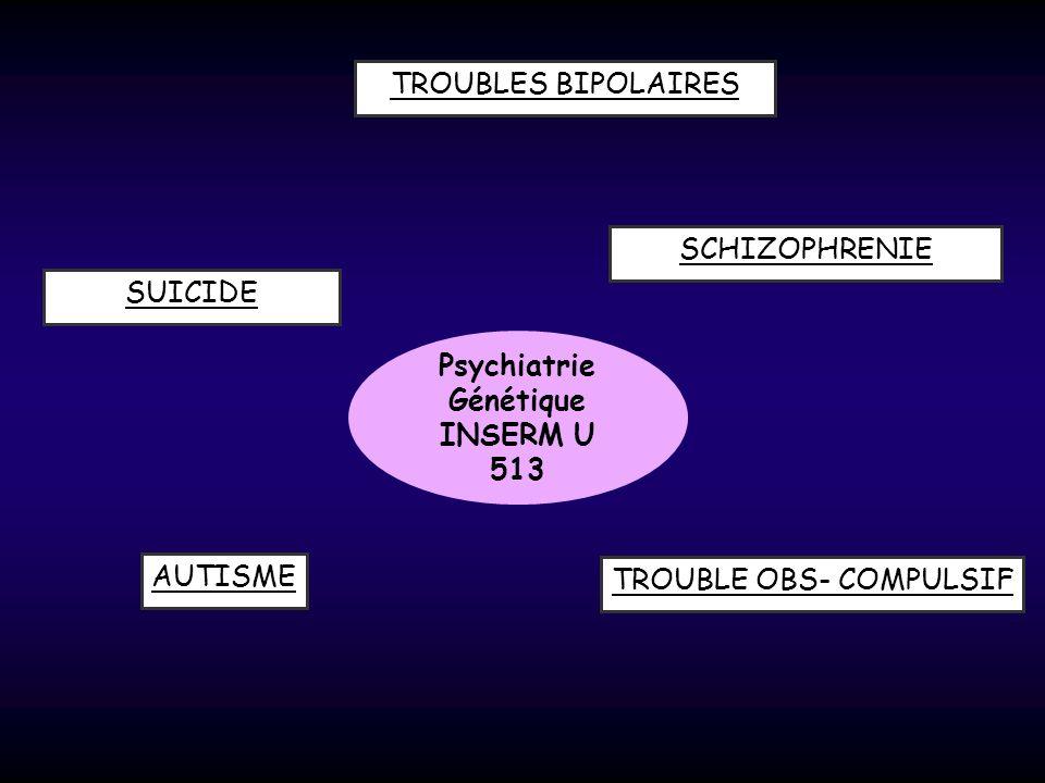 Psychiatrie Génétique INSERM U 513 TROUBLES BIPOLAIRES SUICIDE AUTISME SCHIZOPHRENIE TROUBLE OBS- COMPULSIF