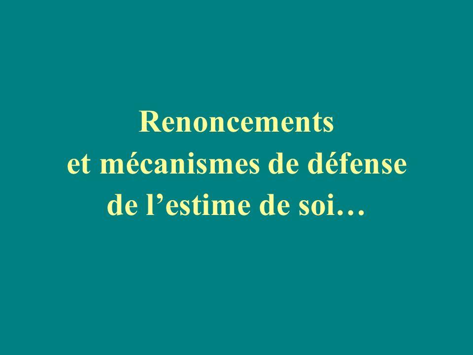 Renoncements et mécanismes de défense de lestime de soi…