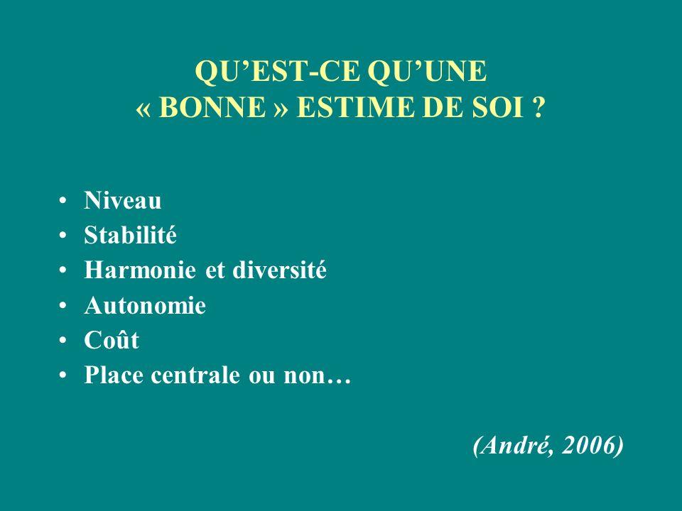 QUEST-CE QUUNE « BONNE » ESTIME DE SOI ? Niveau Stabilité Harmonie et diversité Autonomie Coût Place centrale ou non… (André, 2006)