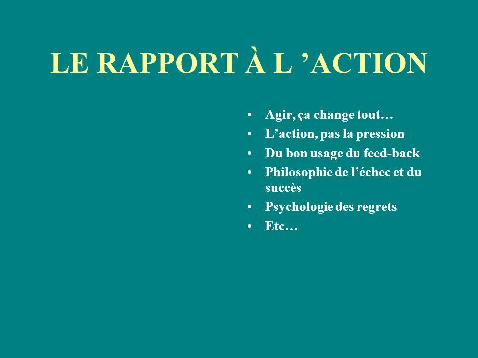 LE RAPPORT À L ACTION Agir, ça change tout… Laction, pas la pression Du bon usage du feed-back Philosophie de léchec et du succès Psychologie des regr