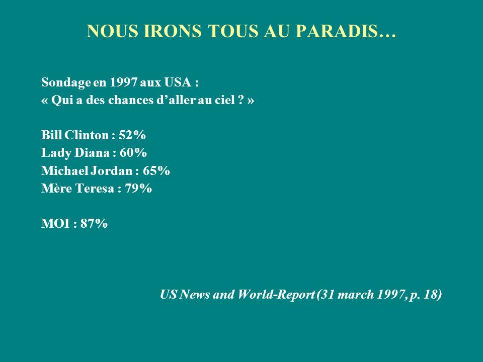 NOUS IRONS TOUS AU PARADIS… Sondage en 1997 aux USA : « Qui a des chances daller au ciel ? » Bill Clinton : 52% Lady Diana : 60% Michael Jordan : 65%