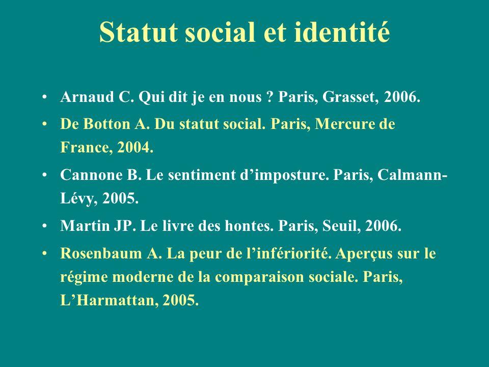 Statut social et identité Arnaud C. Qui dit je en nous ? Paris, Grasset, 2006. De Botton A. Du statut social. Paris, Mercure de France, 2004. Cannone