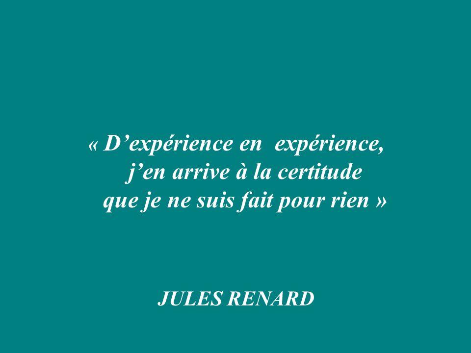 « Dexpérience en expérience, jen arrive à la certitude que je ne suis fait pour rien » JULES RENARD