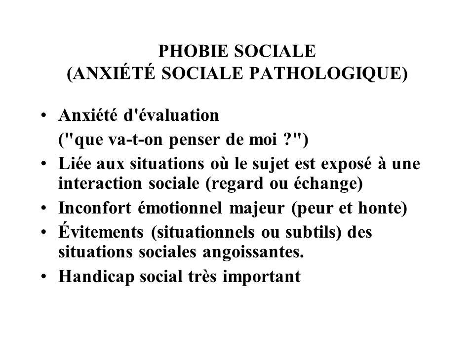 PHOBIE SOCIALE (ANXIÉTÉ SOCIALE PATHOLOGIQUE) Anxiété d'évaluation (