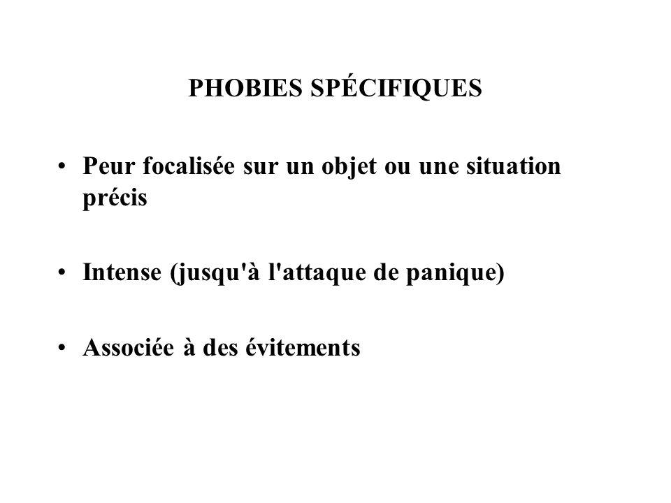 PHOBIES SPÉCIFIQUES Peur focalisée sur un objet ou une situation précis Intense (jusqu'à l'attaque de panique) Associée à des évitements
