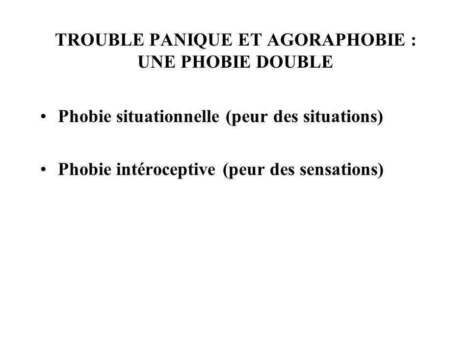 TROUBLE PANIQUE ET AGORAPHOBIE : UNE PHOBIE DOUBLE Phobie situationnelle (peur des situations) Phobie intéroceptive (peur des sensations)