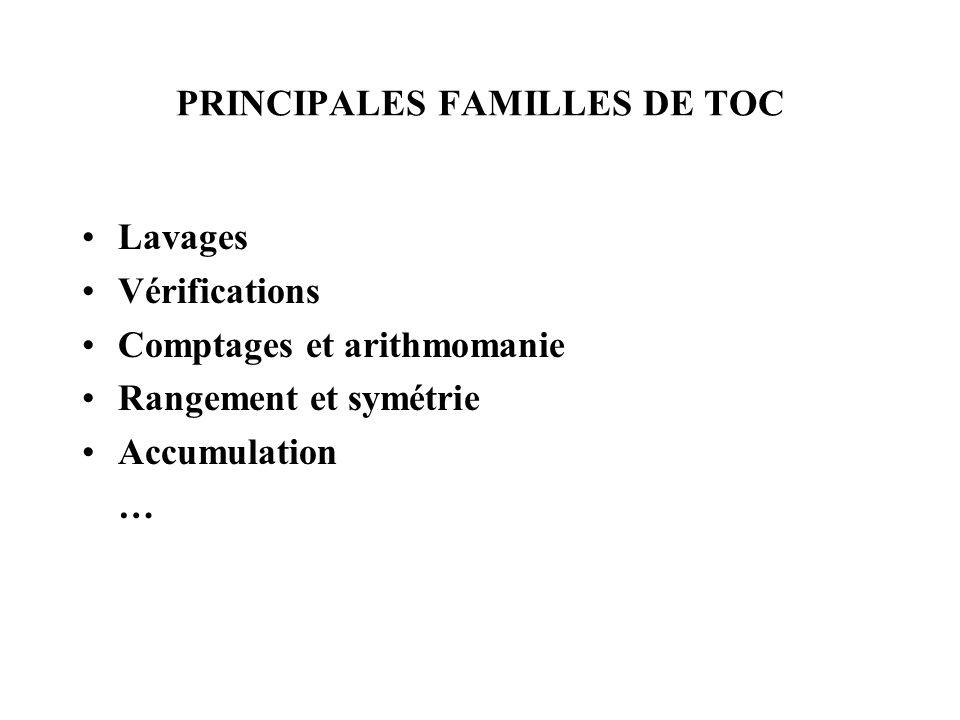PRINCIPALES FAMILLES DE TOC Lavages Vérifications Comptages et arithmomanie Rangement et symétrie Accumulation …