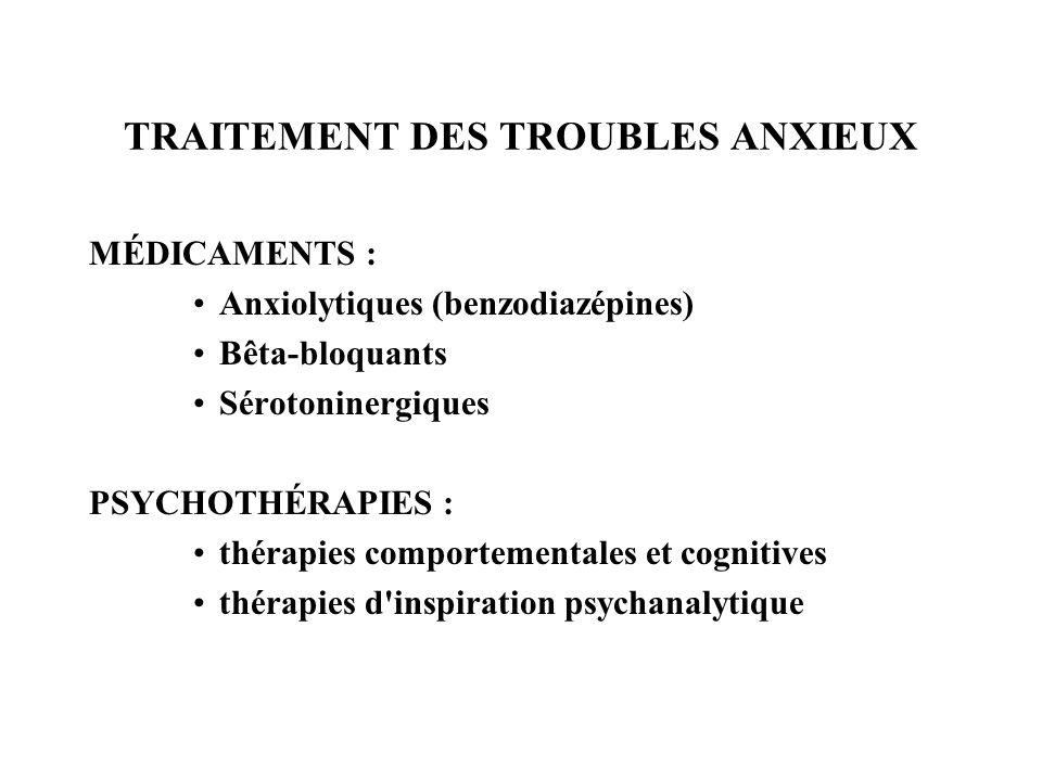 TRAITEMENT DES TROUBLES ANXIEUX MÉDICAMENTS : Anxiolytiques (benzodiazépines) Bêta-bloquants Sérotoninergiques PSYCHOTHÉRAPIES : thérapies comportemen