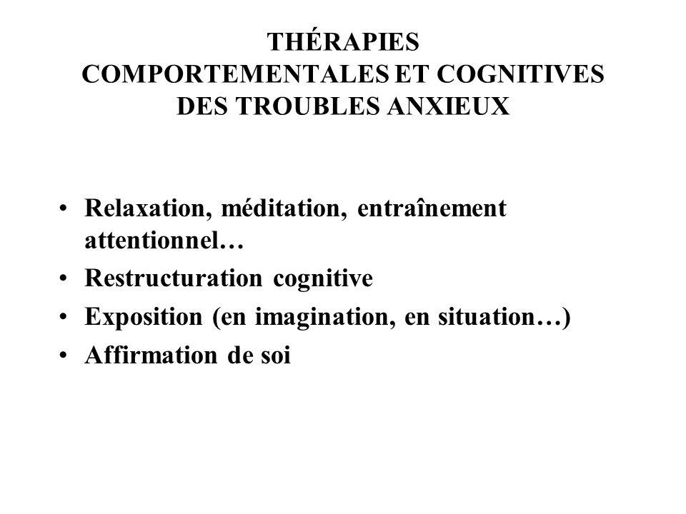 THÉRAPIES COMPORTEMENTALES ET COGNITIVES DES TROUBLES ANXIEUX Relaxation, méditation, entraînement attentionnel… Restructuration cognitive Exposition