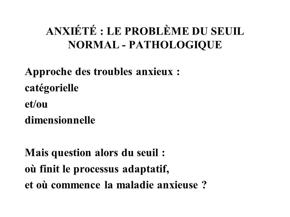 ANXIÉTÉ : LE PROBLÈME DU SEUIL NORMAL - PATHOLOGIQUE Approche des troubles anxieux : catégorielle et/ou dimensionnelle Mais question alors du seuil :