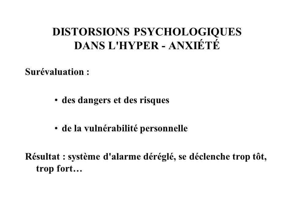 DISTORSIONS PSYCHOLOGIQUES DANS L'HYPER - ANXIÉTÉ Surévaluation : des dangers et des risques de la vulnérabilité personnelle Résultat : système d'alar