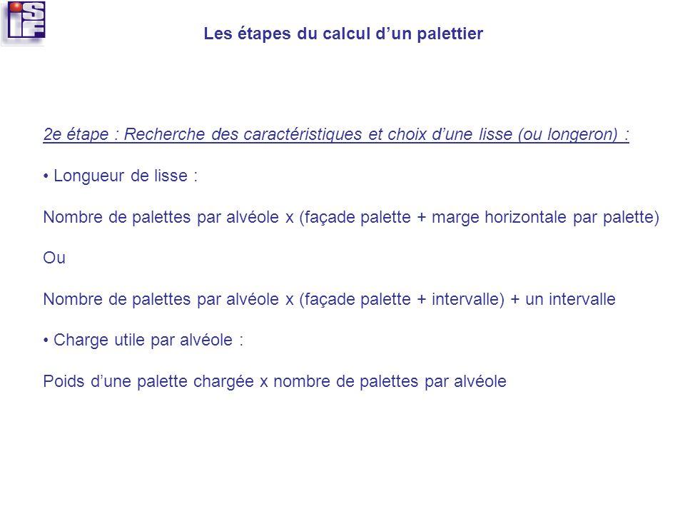 Les étapes du calcul dun palettier 2e étape : Recherche des caractéristiques et choix dune lisse (ou longeron) : Longueur de lisse : Nombre de palette