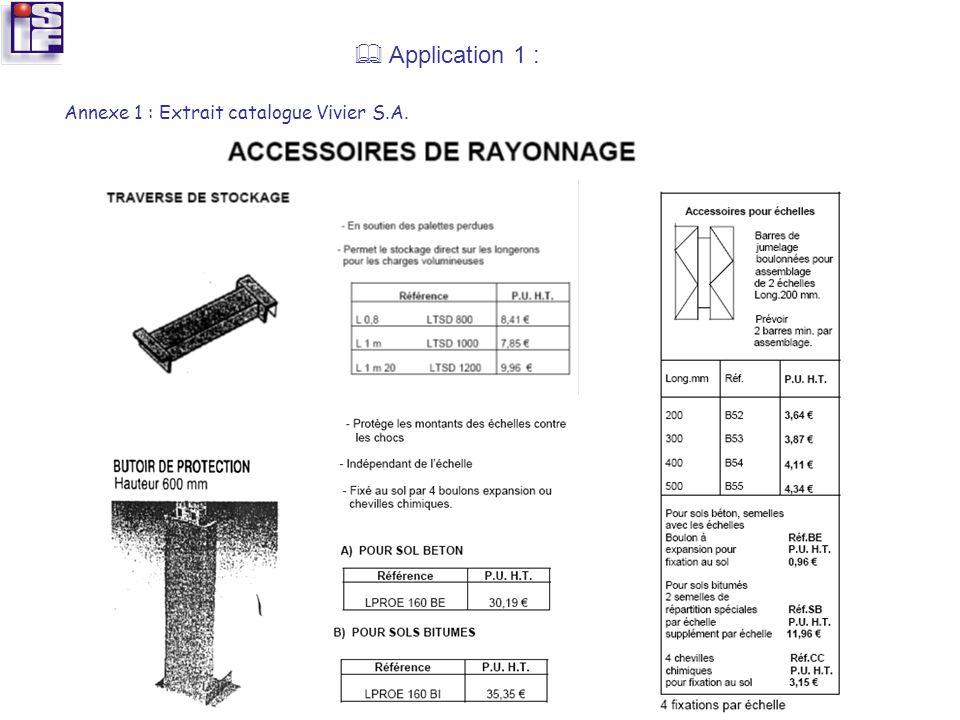 Application 1 : Annexe 1 : Extrait catalogue Vivier S.A.