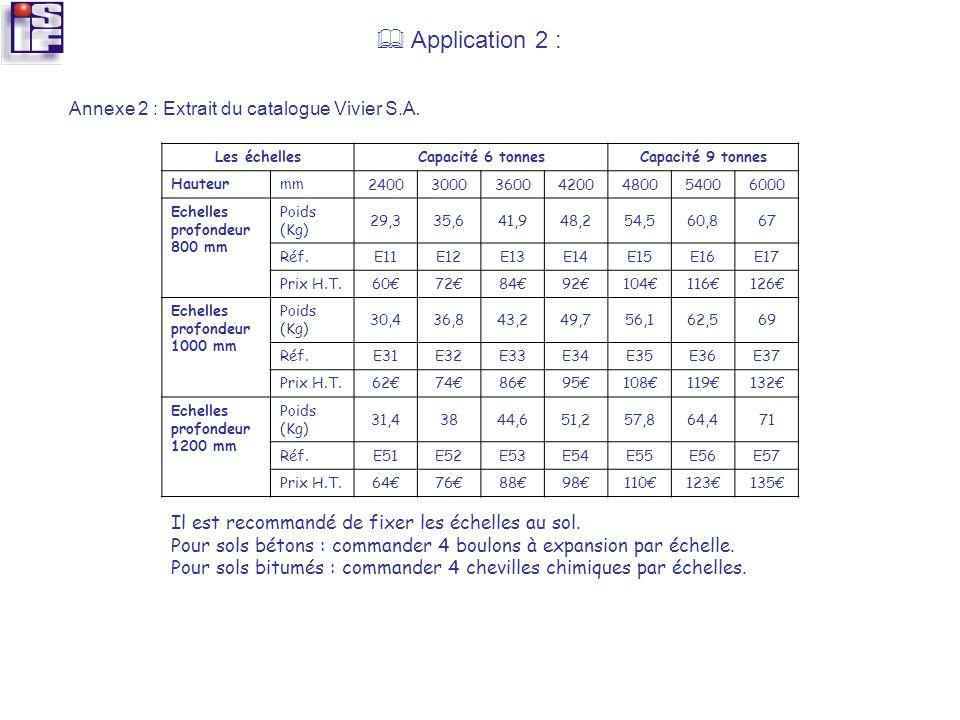 Application 2 : Annexe 2 : Extrait du catalogue Vivier S.A. Les échellesCapacité 6 tonnesCapacité 9 tonnes Hauteurmm 2400300036004200480054006000 Eche