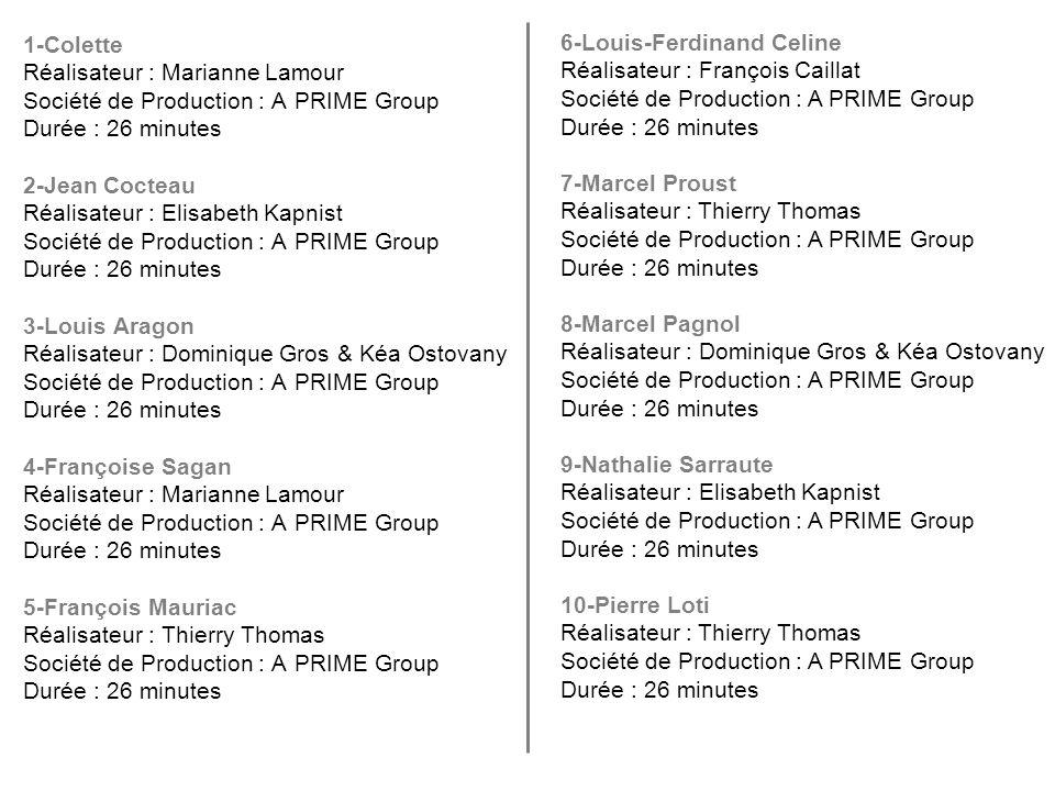 1-Colette Réalisateur : Marianne Lamour Société de Production : A PRIME Group Durée : 26 minutes 2-Jean Cocteau Réalisateur : Elisabeth Kapnist Sociét