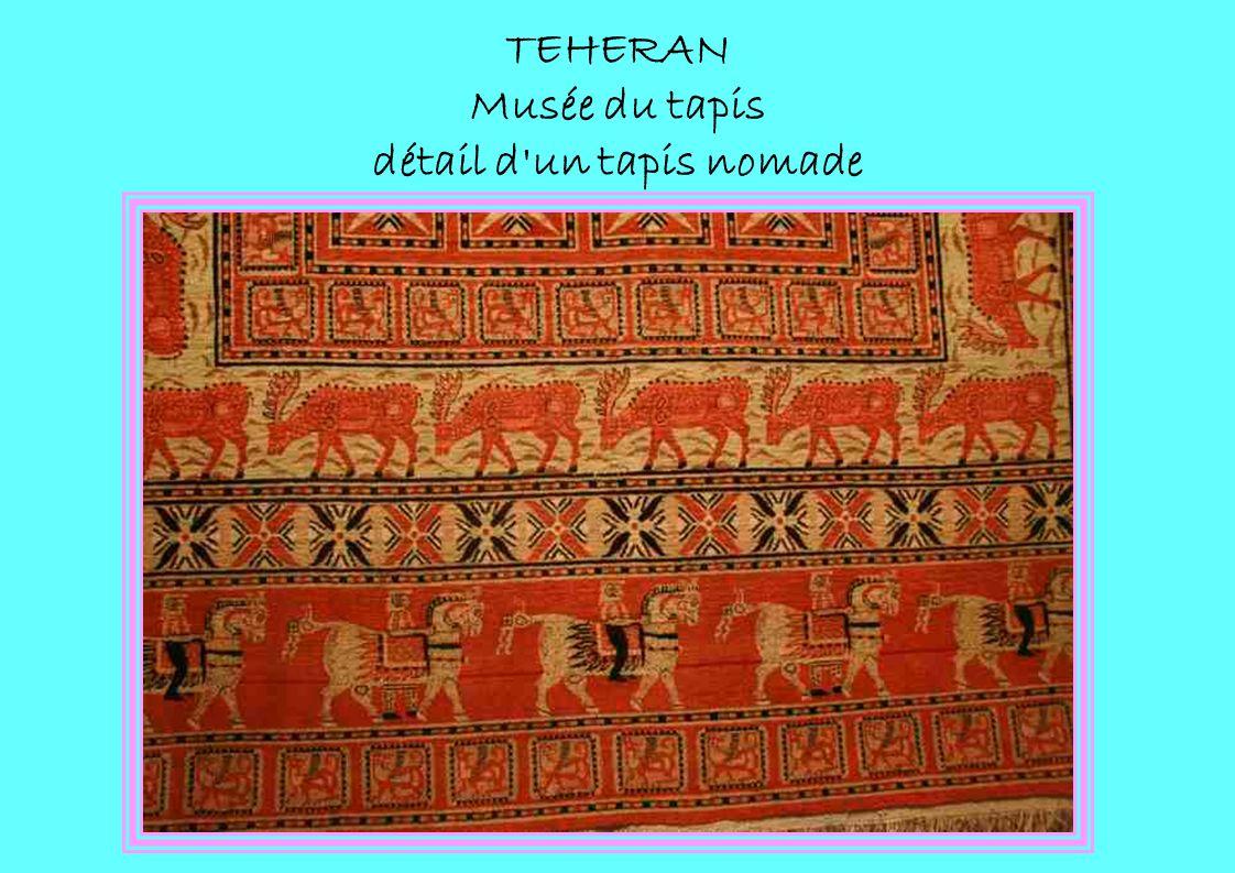 TEHERAN Musée du tapis détail d'un tapis nomade