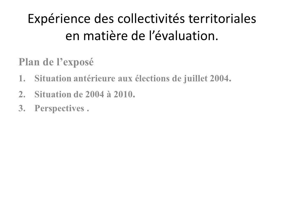 Expérience des collectivités territoriales en matière de lévaluation.