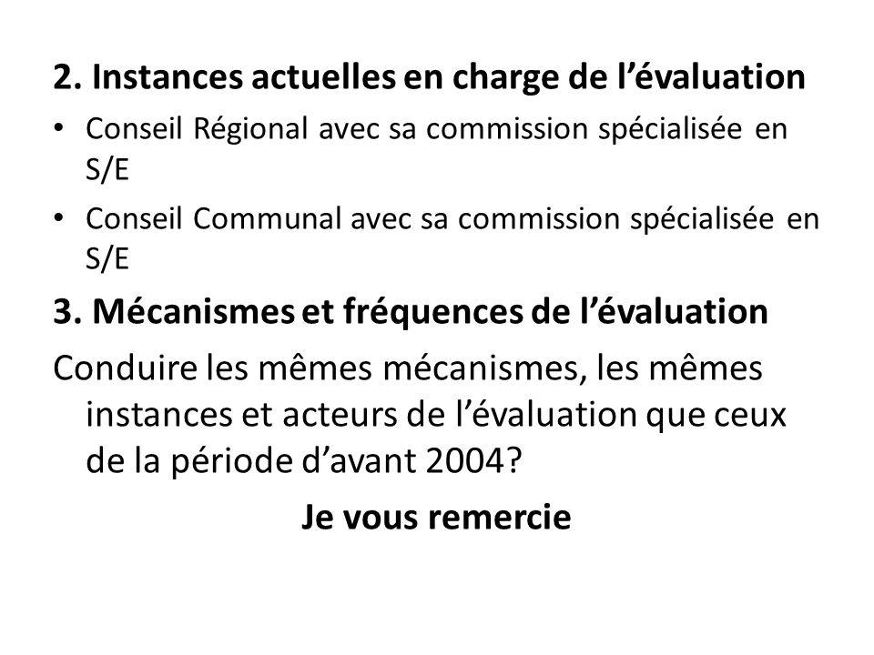 2. Instances actuelles en charge de lévaluation Conseil Régional avec sa commission spécialisée en S/E Conseil Communal avec sa commission spécialisée