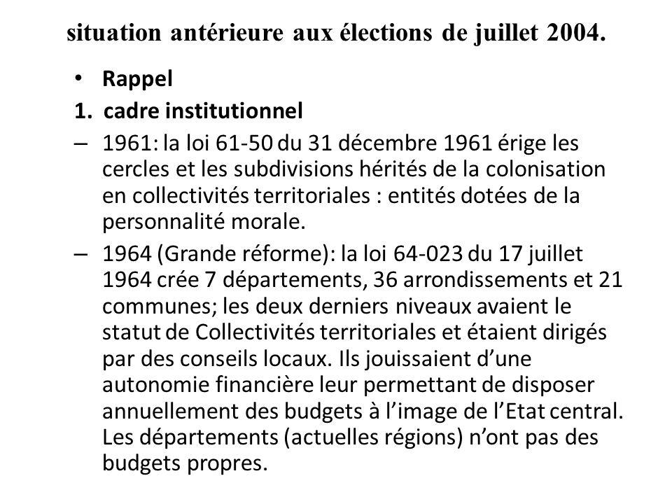 situation antérieure aux élections de juillet 2004.