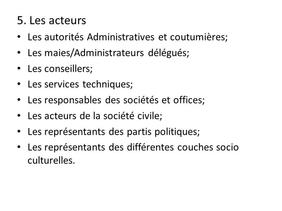 5. Les acteurs Les autorités Administratives et coutumières; Les maies/Administrateurs délégués; Les conseillers; Les services techniques; Les respons