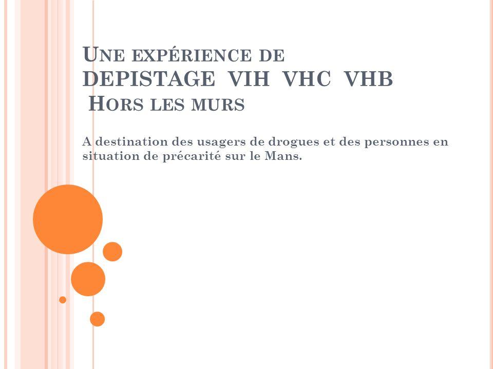 U NE EXPÉRIENCE DE DEPISTAGE VIH VHC VHB H ORS LES MURS A destination des usagers de drogues et des personnes en situation de précarité sur le Mans.