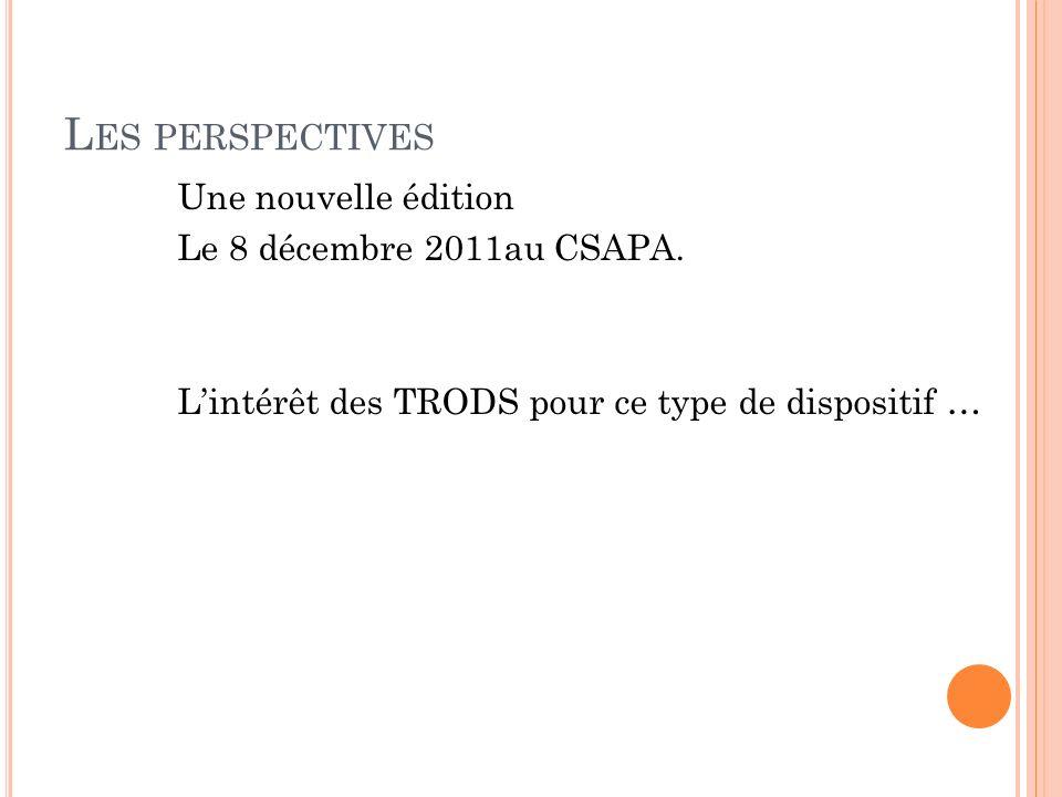 L ES PERSPECTIVES Une nouvelle édition Le 8 décembre 2011au CSAPA.