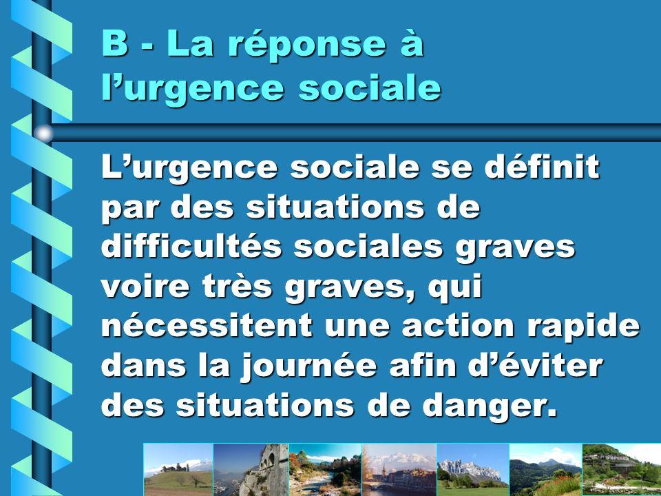 B - La réponse à lurgence sociale Lurgence sociale se définit par des situations de difficultés sociales graves voire très graves, qui nécessitent une action rapide dans la journée afin déviter des situations de danger.